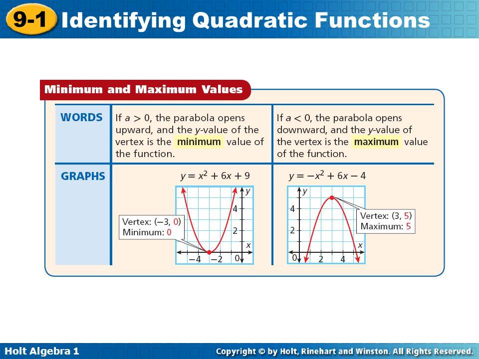Holt Algebra 1 9-1 Identifying Quadratic Functions