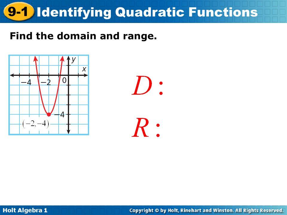 Holt Algebra 1 9-1 Identifying Quadratic Functions Find the domain and range.
