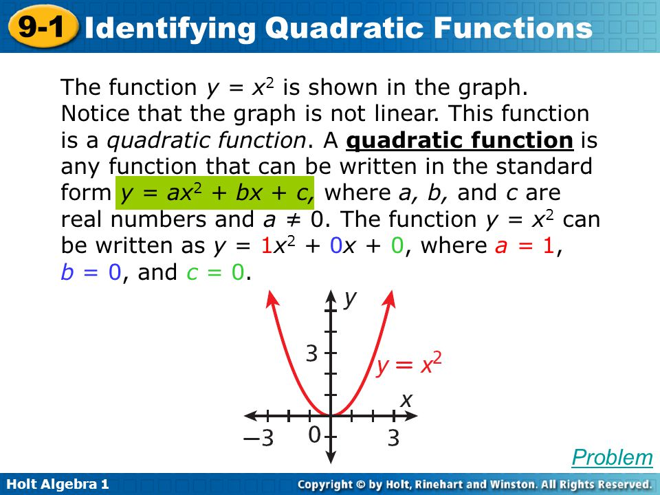 Holt Algebra 1 9-1 Identifying Quadratic Functions The function y = x 2 is shown in the graph. Notice that the graph is not linear. This function is a