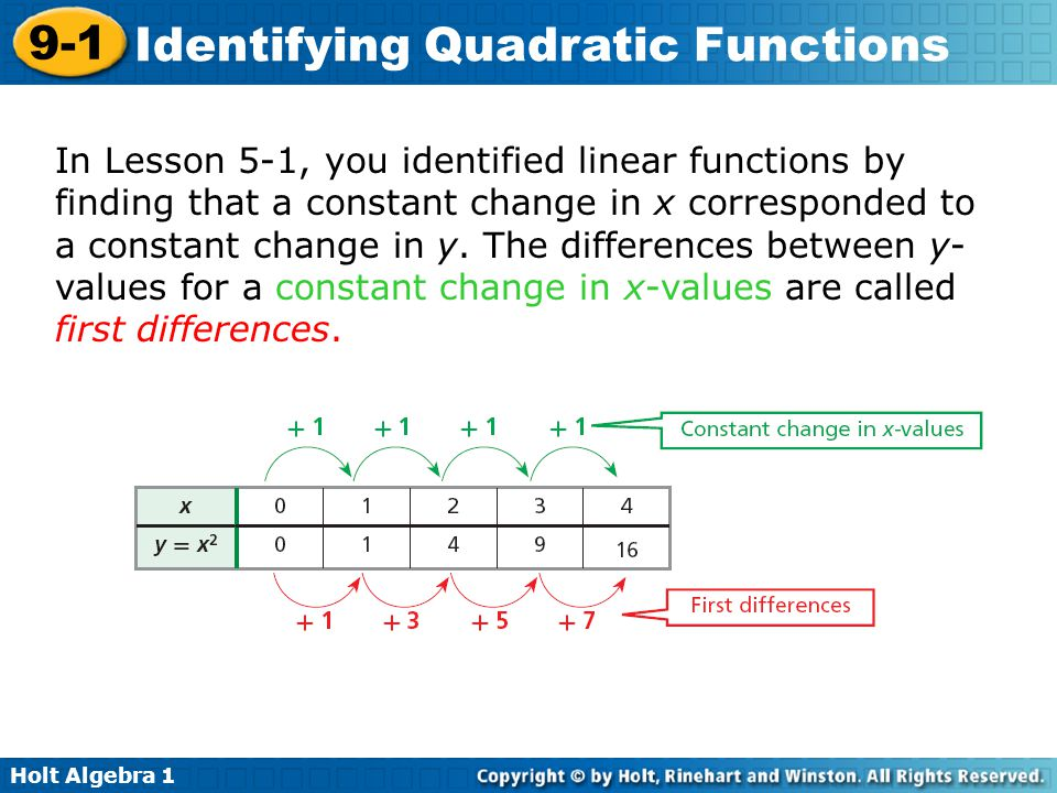 Holt Algebra 1 9-1 Identifying Quadratic Functions In Lesson 5-1, you identified linear functions by finding that a constant change in x corresponded