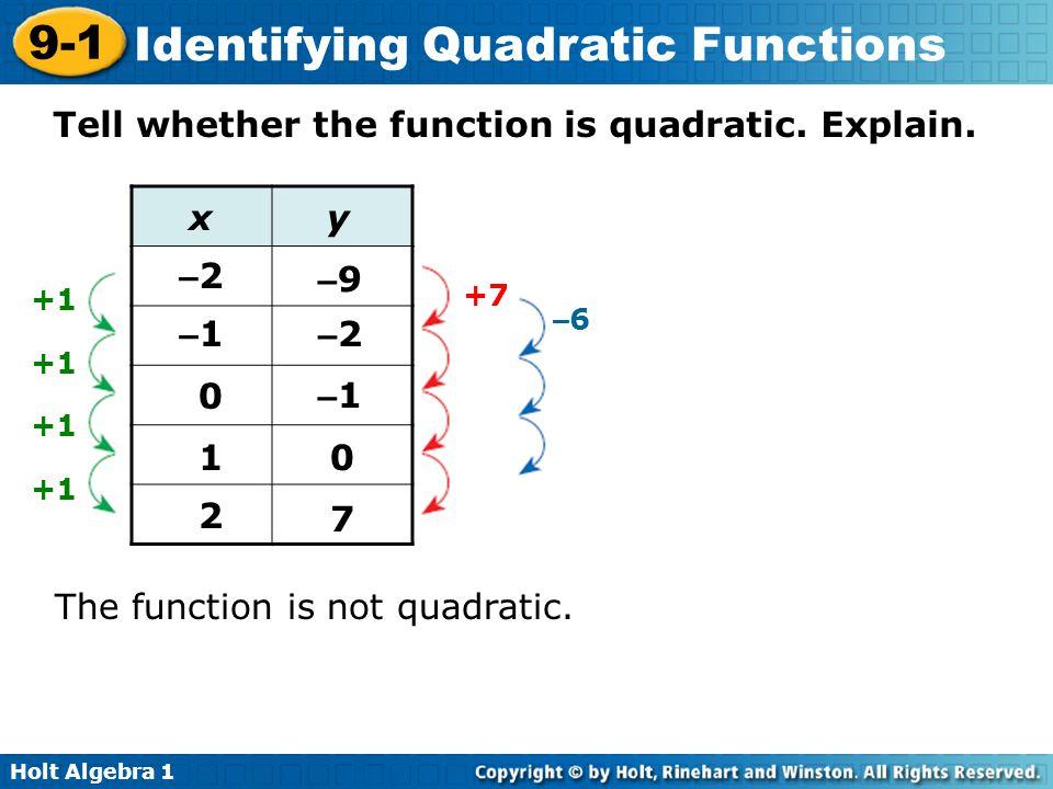 Holt Algebra 1 9-1 Identifying Quadratic Functions Tell whether the function is quadratic. Explain. The function is not quadratic. The second differen