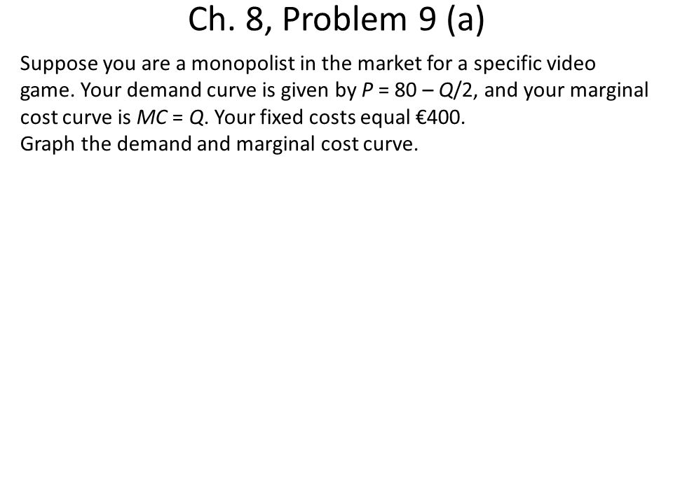 Ch. 8, Problem 9 (a) Suppose you are a monopolist in the market for a specific video game. Your demand curve is given by P = 80 – Q/2, and your margin