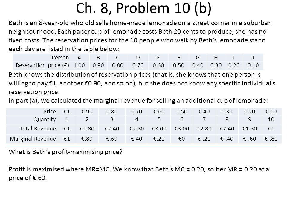 Ch. 8, Problem 10 (b) Beth is an 8-year-old who old sells home-made lemonade on a street corner in a suburban neighbourhood. Each paper cup of lemonad