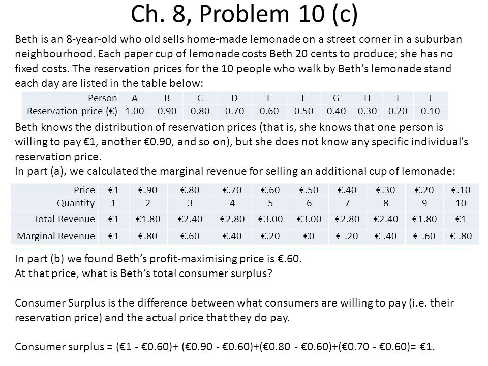 Ch. 8, Problem 10 (c) Beth is an 8-year-old who old sells home-made lemonade on a street corner in a suburban neighbourhood. Each paper cup of lemonad