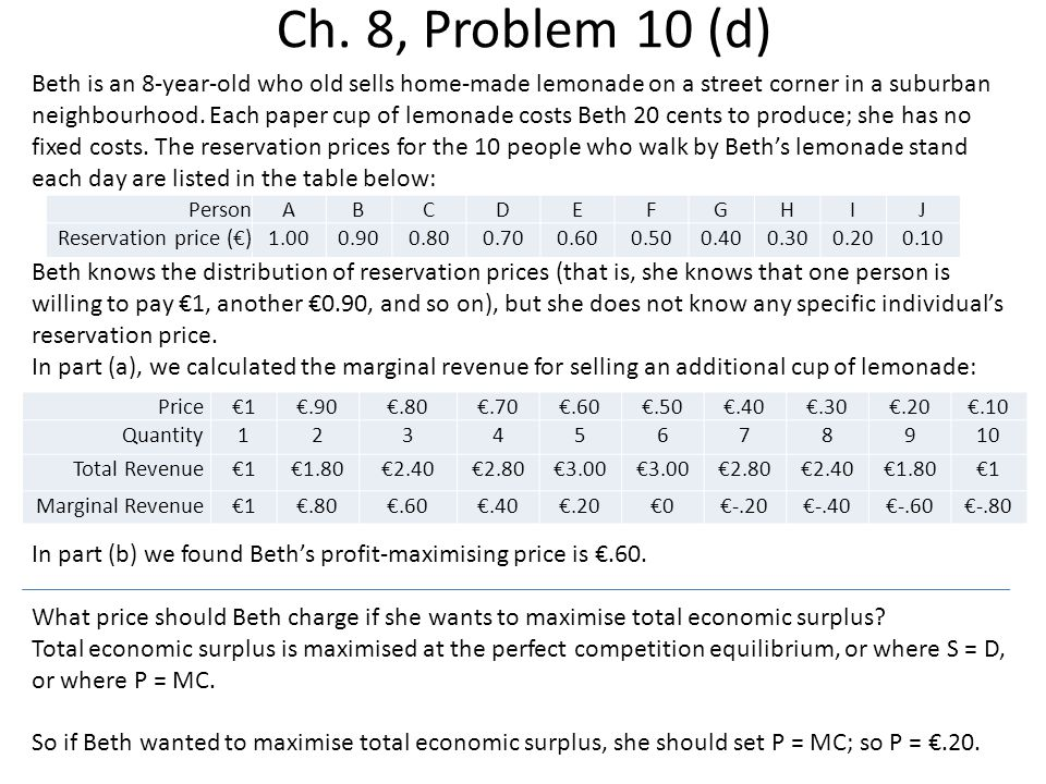 Ch. 8, Problem 10 (d) Beth is an 8-year-old who old sells home-made lemonade on a street corner in a suburban neighbourhood. Each paper cup of lemonad