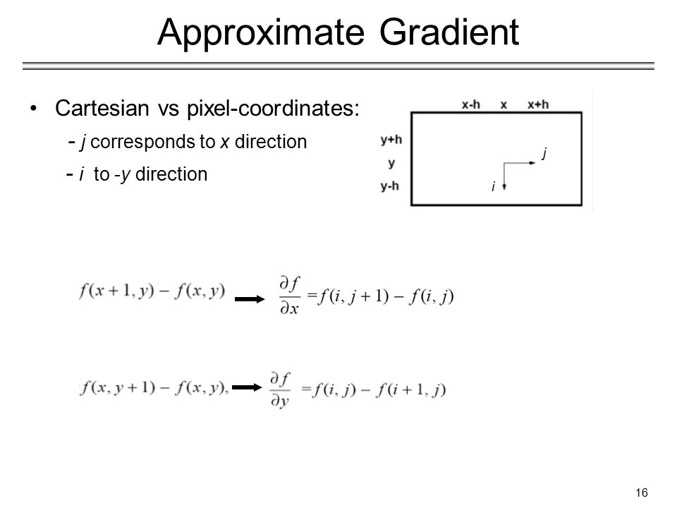 Cartesian vs pixel-coordinates: - j corresponds to x direction - i to -y direction Approximate Gradient 16 i j