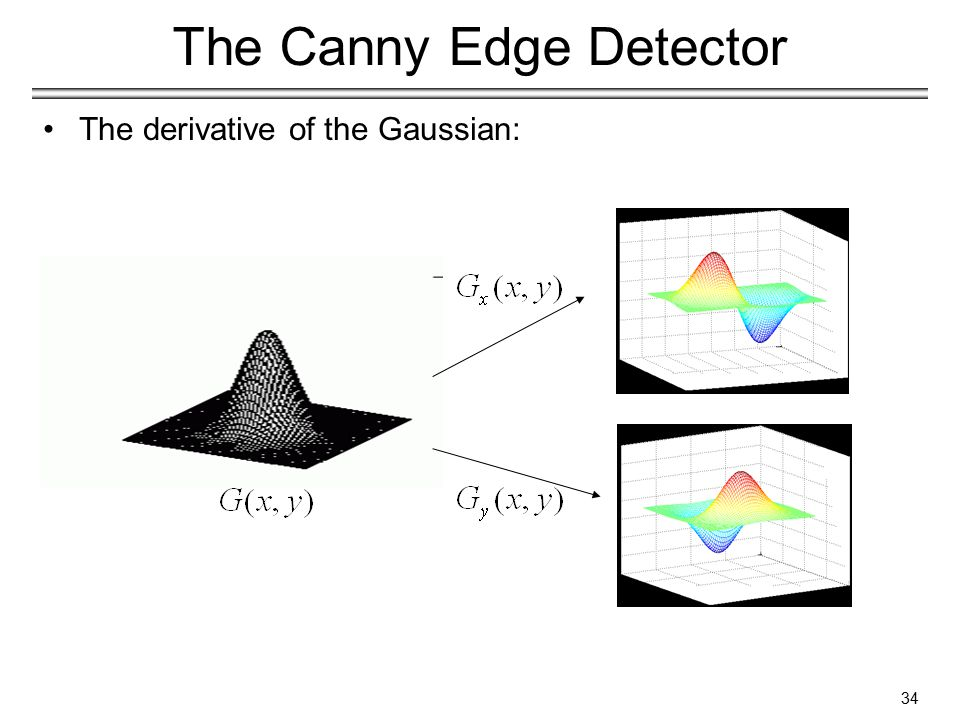 34 The Canny Edge Detector The derivative of the Gaussian:
