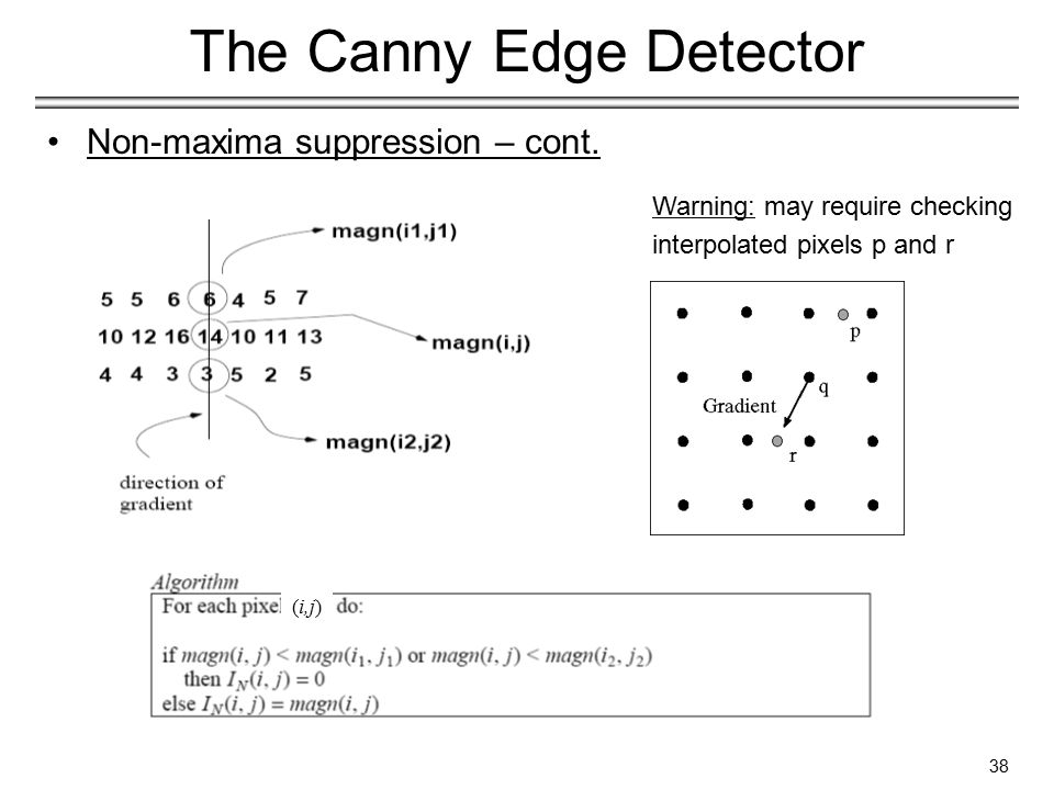 38 The Canny Edge Detector Non-maxima suppression – cont.