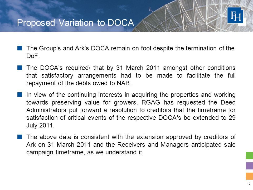 12 Proposed Variation to DOCA The Group's and Ark's DOCA remain on foot despite the termination of the DoF.