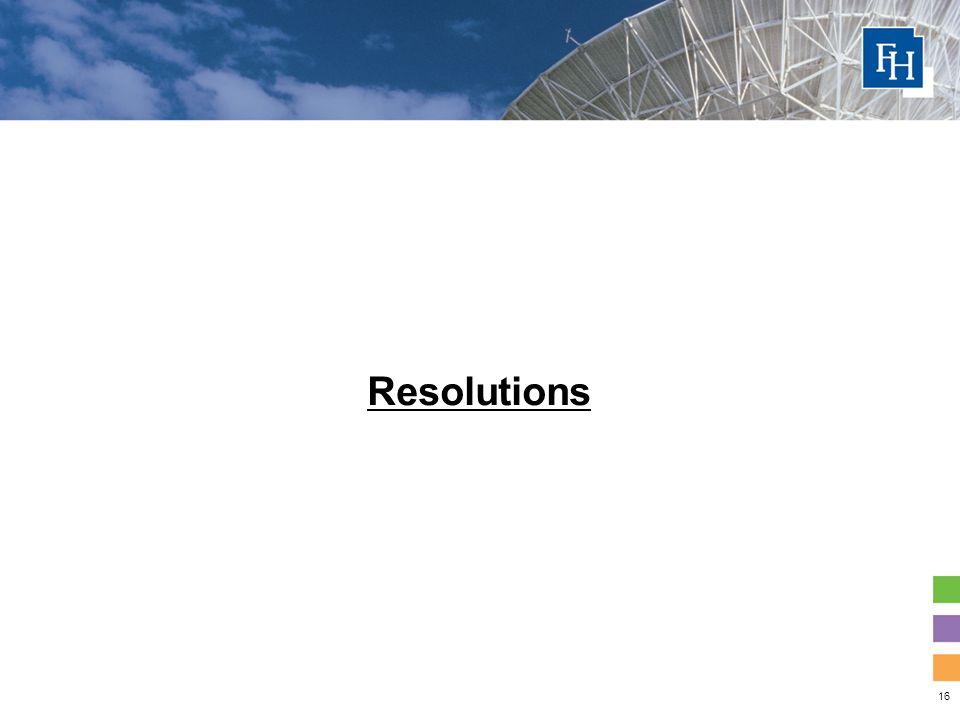 16 Resolutions