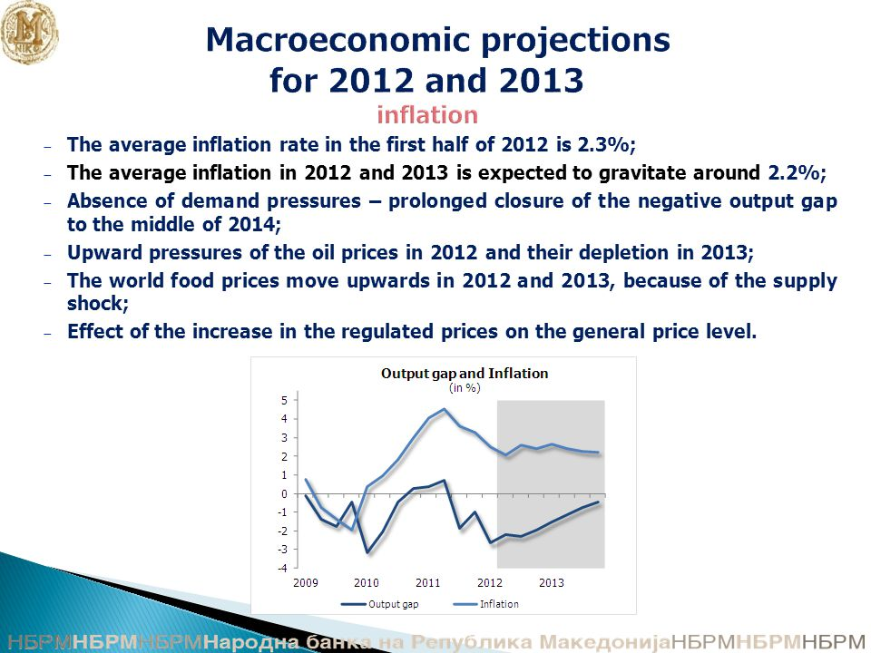 Macroeconomic projections for 2012 and 2013 inflation − The average inflation rate in the first half of 2012 is 2.3%; − The average inflation in 2012 and 2013 is expected to gravitate around 2.2%; − Absence of demand pressures – prolonged closure of the negative output gap to the middle of 2014; − Upward pressures of the oil prices in 2012 and their depletion in 2013; − The world food prices move upwards in 2012 and 2013, because of the supply shock; − Effect of the increase in the regulated prices on the general price level.