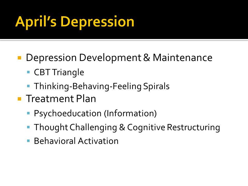  Depression Development & Maintenance  CBT Triangle  Thinking-Behaving-Feeling Spirals  Treatment Plan  Psychoeducation (Information)  Thought C