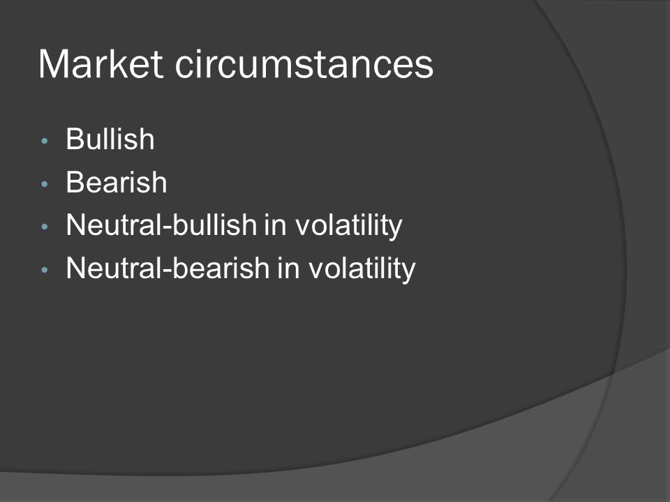 Market circumstances Bullish Bearish Neutral-bullish in volatility Neutral-bearish in volatility