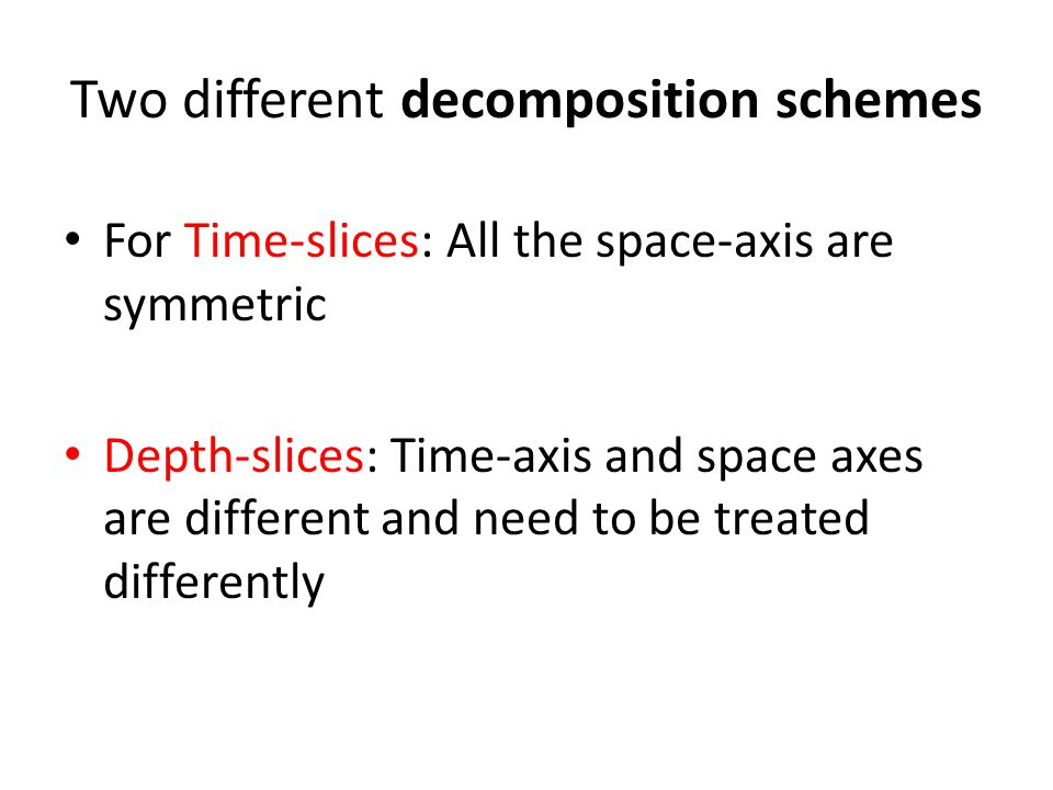 Two different decomposition schemes For Time-slices: All the space-axis are symmetric Depth-slices: Time-axis and space axes are different and need to be treated differently