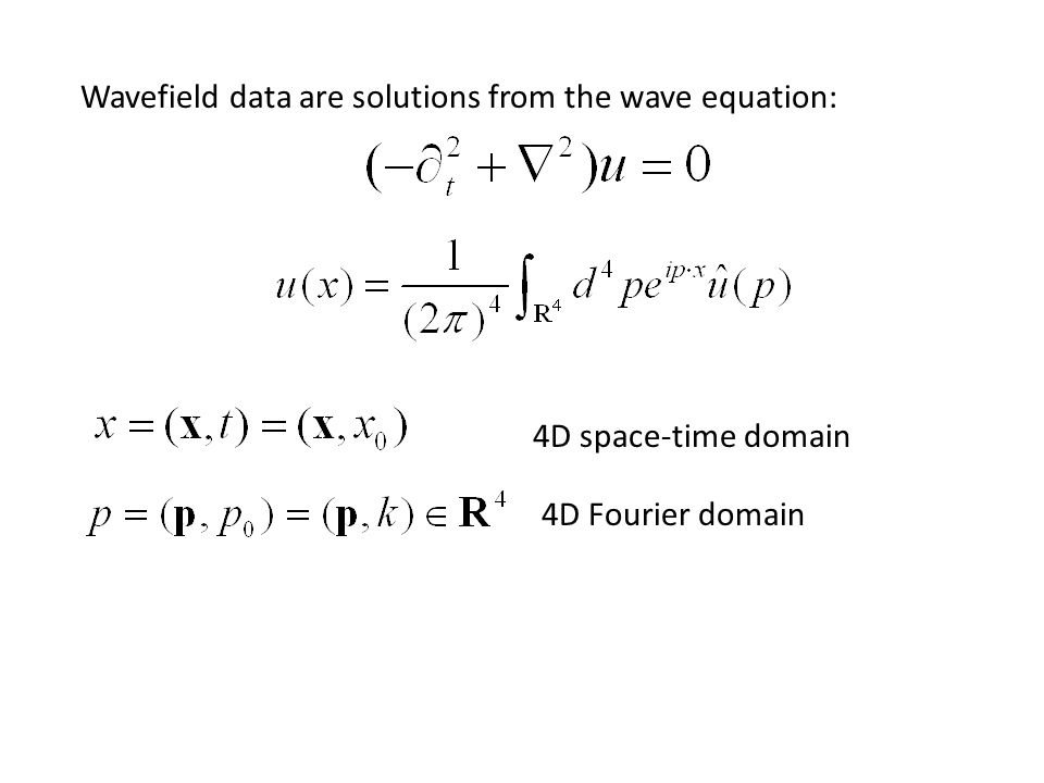 4D Fourier domain 4D space-time domain Wavefield data are solutions from the wave equation: