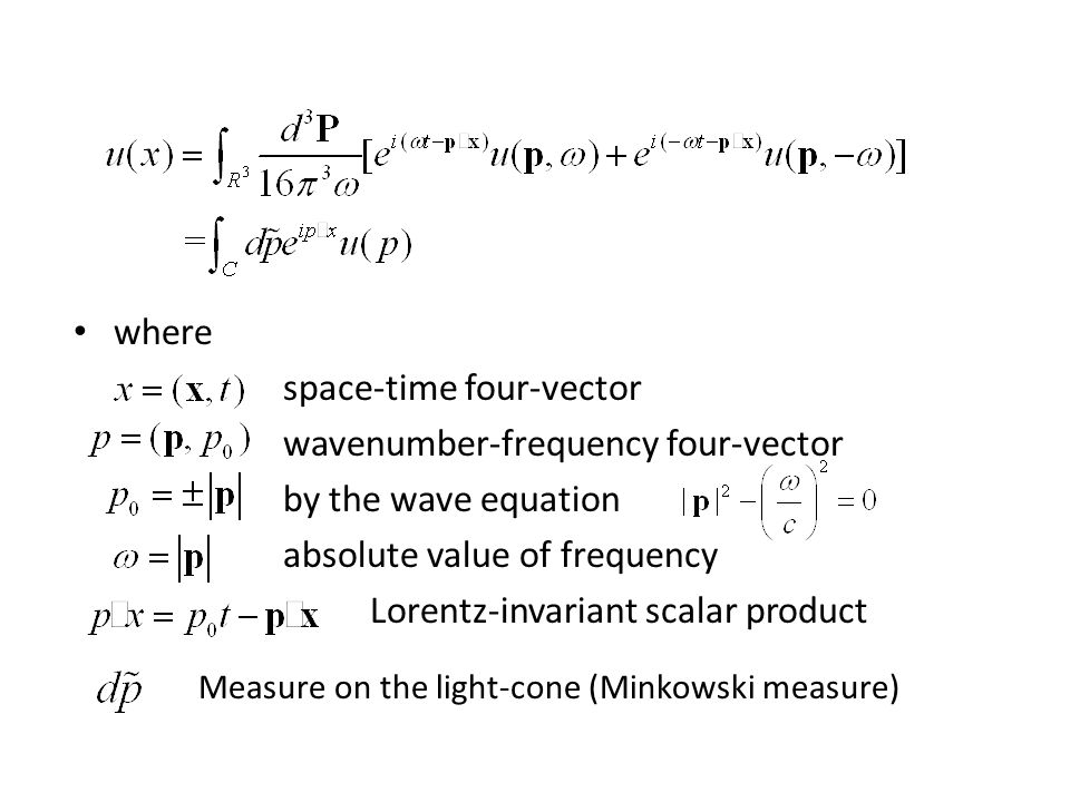 where space-time four-vector wavenumber-frequency four-vector by the wave equation absolute value of frequency Lorentz-invariant scalar product Measure on the light-cone (Minkowski measure)