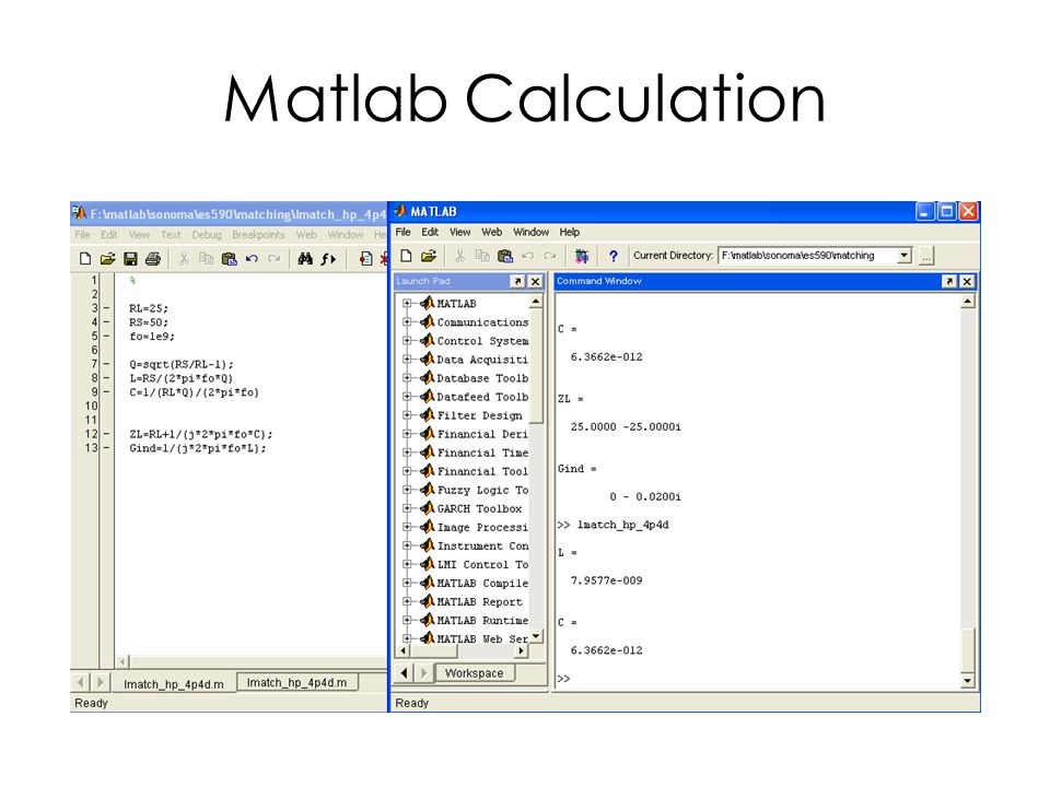Matlab Calculation