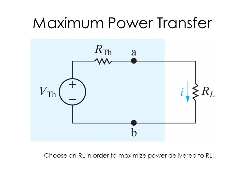 Maximum Power Transfer Choose an RL in order to maximize power delivered to RL.
