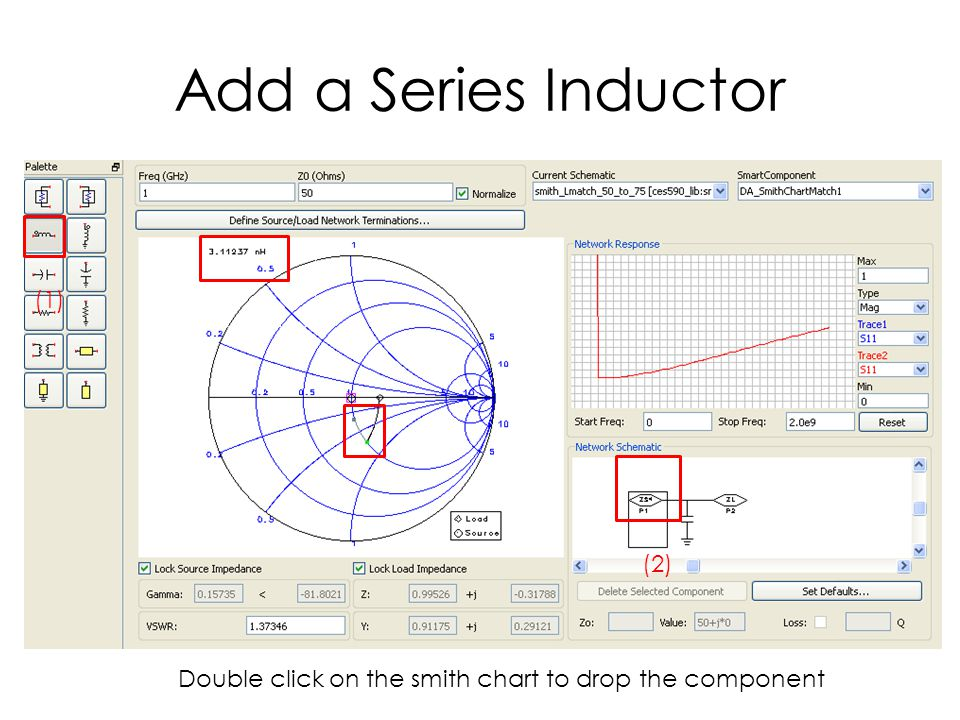 Add a Series Inductor (1) (2) Double click on the smith chart to drop the component