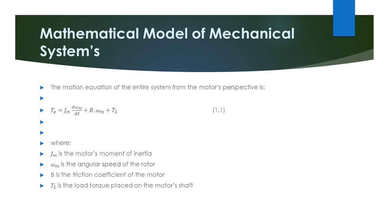 Mathematical Model of Mechanical System's