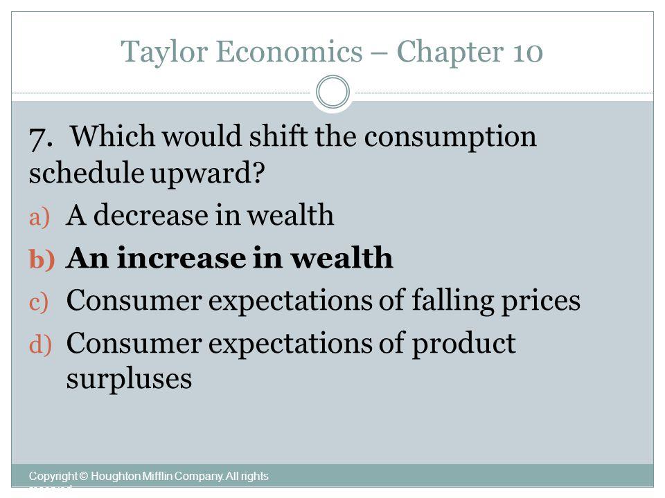 Taylor Economics – Chapter 10 Copyright © Houghton Mifflin Company.