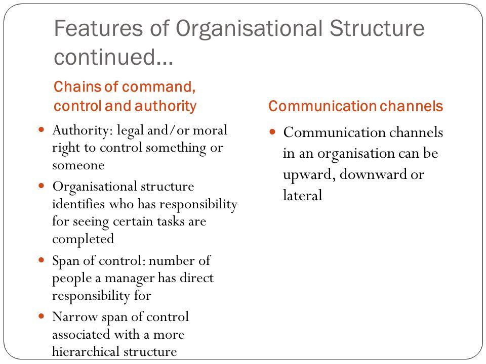 Features of Organisational Structure continued… Chains of command, control and authorityCommunication channels Authority: legal and/or moral right to control something or someone Organisational structure identifies who has responsibility for seeing certain tasks are completed Span of control: number of people a manager has direct responsibility for Narrow span of control associated with a more hierarchical structure Communication channels in an organisation can be upward, downward or lateral