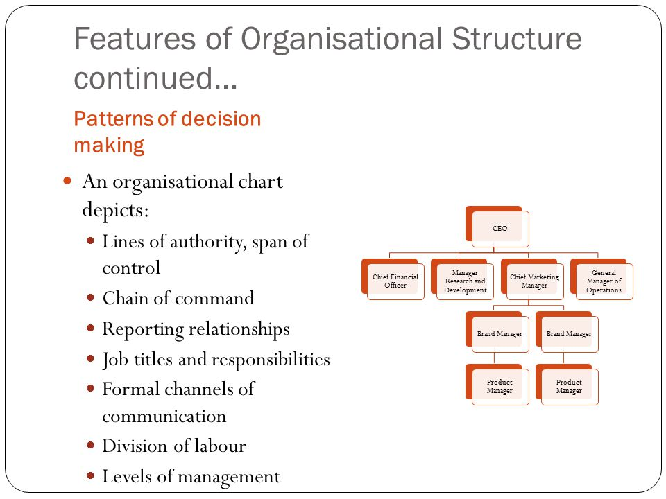 Features of Organisational Structure continued… Patterns of decision making An organisational chart depicts: Lines of authority, span of control Chain of command Reporting relationships Job titles and responsibilities Formal channels of communication Division of labour Levels of management CEO Chief Financial Officer Manager Research and Development Chief Marketing Manager Brand Manager Product Manager Brand Manager Product Manager General Manager of Operations