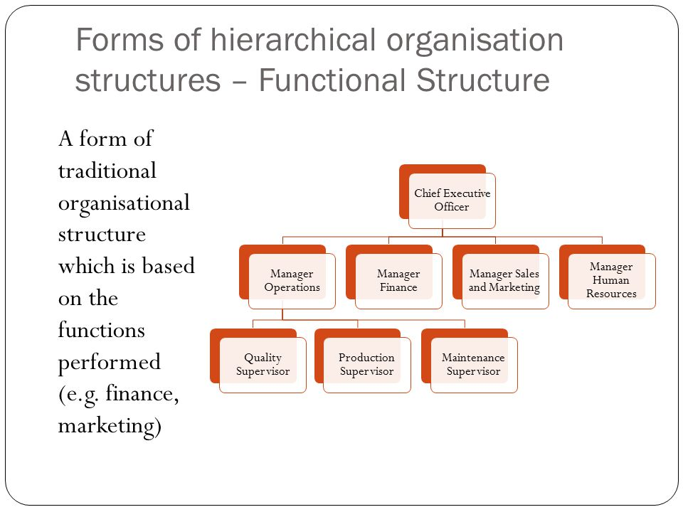 Forms of hierarchical organisation structures – Functional Structure A form of traditional organisational structure which is based on the functions performed (e.g.