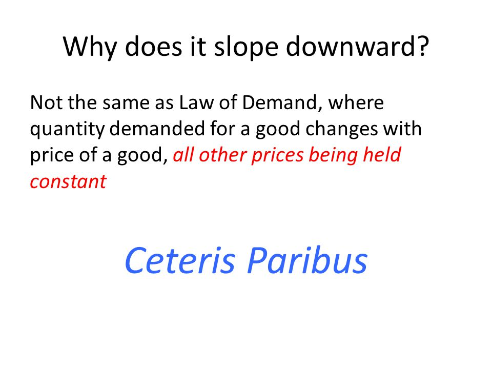Why does it slope downward? Not the same as Law of Demand, where quantity demanded for a good changes with price of a good, all other prices being hel