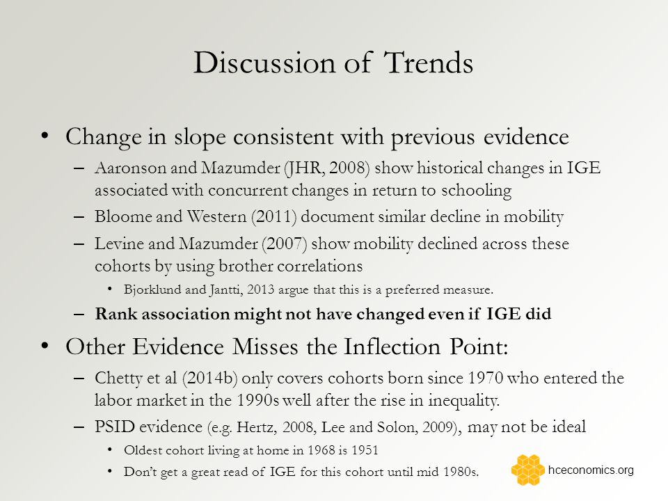 Discussion of Trends Change in slope consistent with previous evidence – Aaronson and Mazumder (JHR, 2008) show historical changes in IGE associated with concurrent changes in return to schooling – Bloome and Western (2011) document similar decline in mobility – Levine and Mazumder (2007) show mobility declined across these cohorts by using brother correlations Bjorklund and Jantti, 2013 argue that this is a preferred measure.