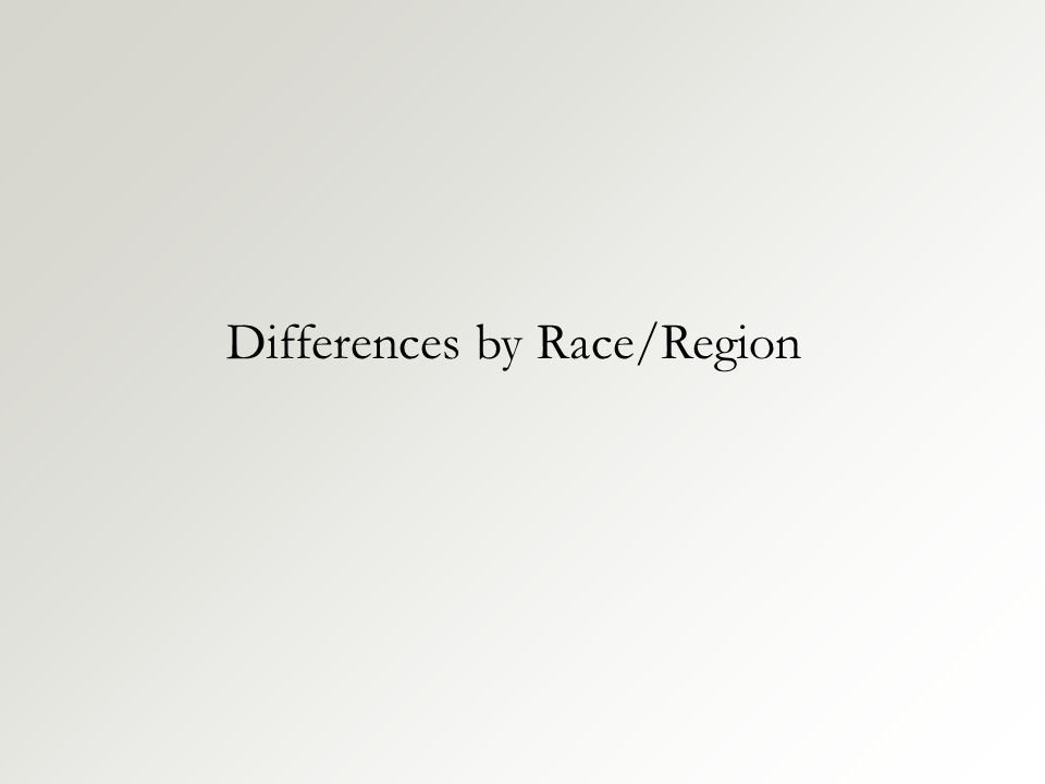 Differences by Race/Region