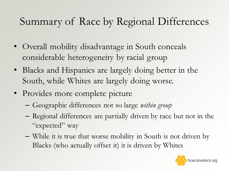 Summary of Race by Regional Differences Overall mobility disadvantage in South conceals considerable heterogeneity by racial group Blacks and Hispanics are largely doing better in the South, while Whites are largely doing worse.