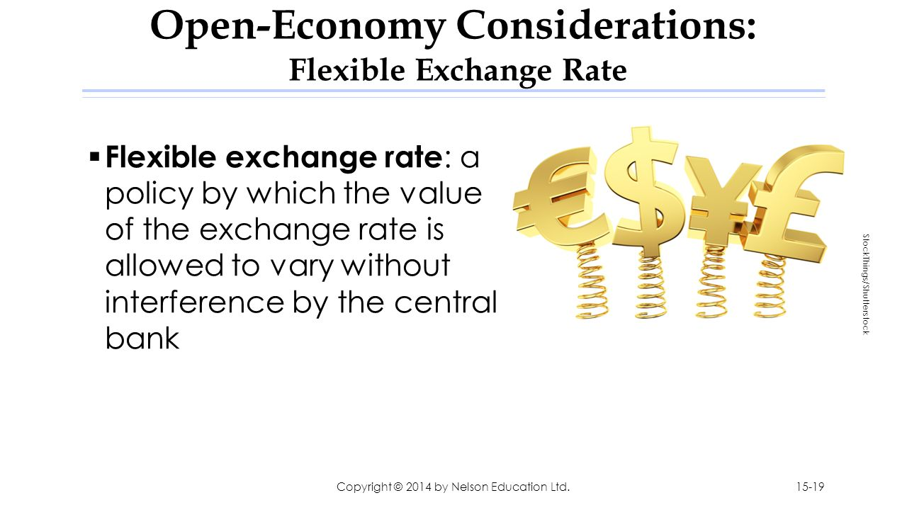 Open-Economy Considerations: Flexible Exchange Rate  Flexible exchange rate : a policy by which the value of the exchange rate is allowed to vary wit