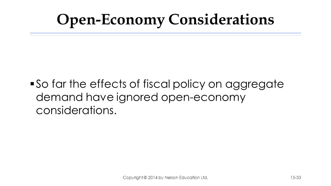Open-Economy Considerations  So far the effects of fiscal policy on aggregate demand have ignored open-economy considerations. Copyright © 2014 by Ne