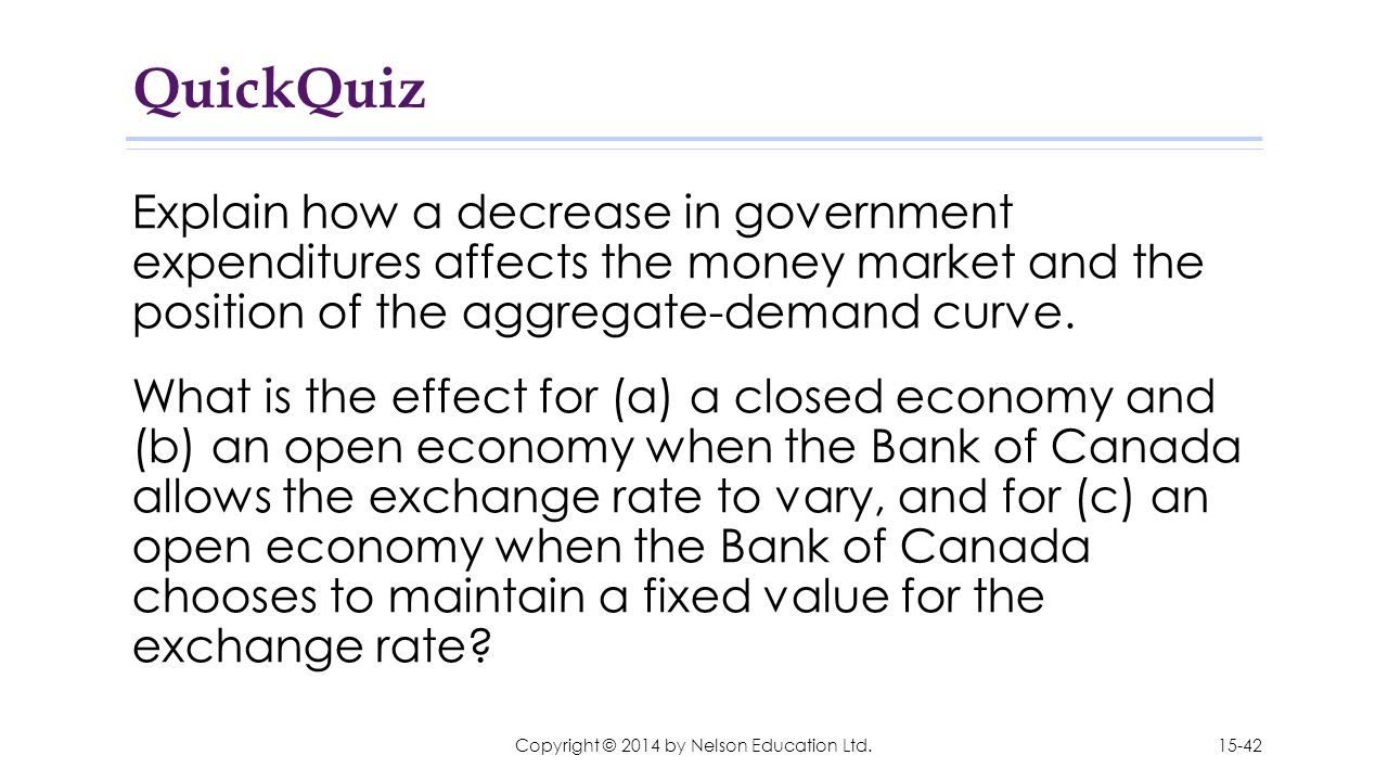 QuickQuiz Explain how a decrease in government expenditures affects the money market and the position of the aggregate-demand curve. What is the effec