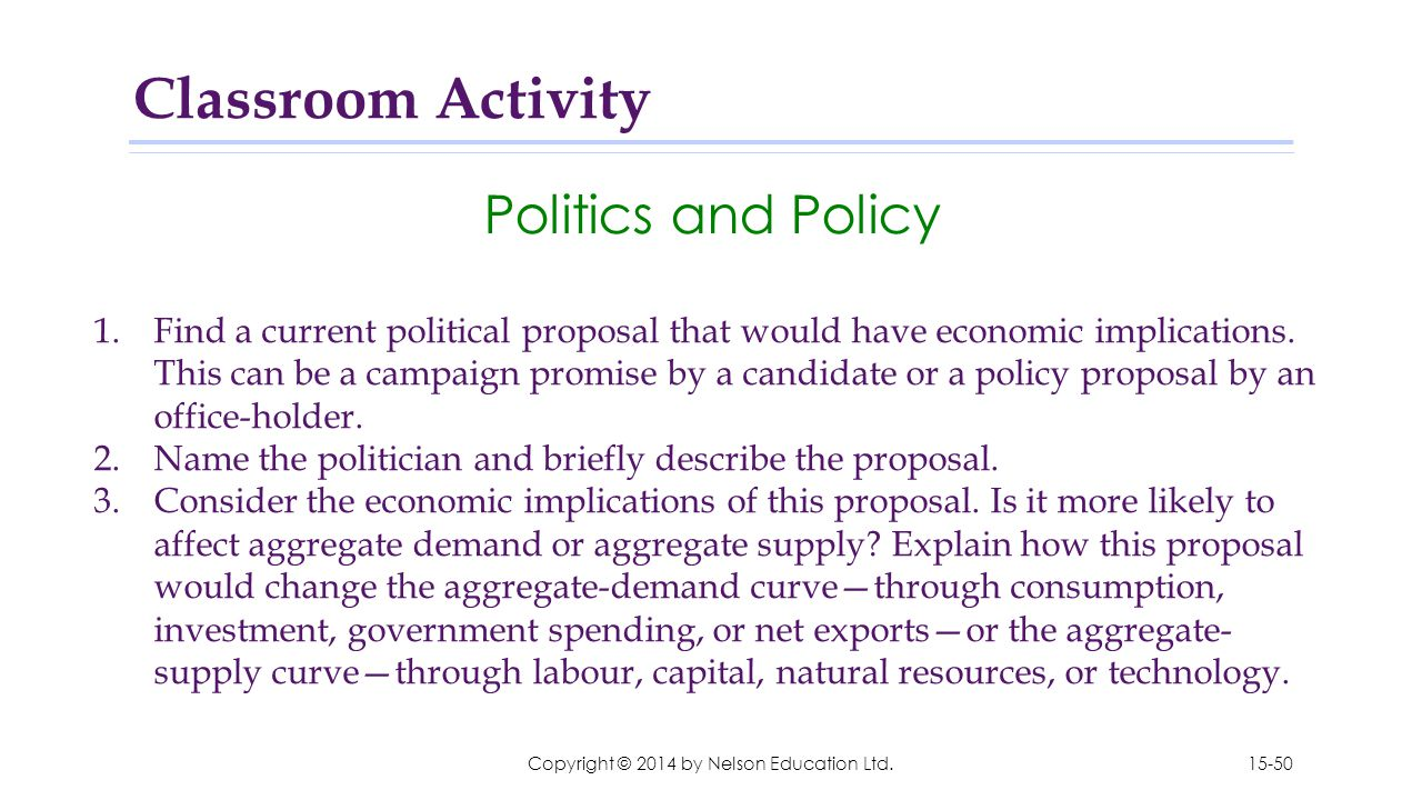 Copyright © 2014 by Nelson Education Ltd. Politics and Policy 1.Find a current political proposal that would have economic implications. This can be a