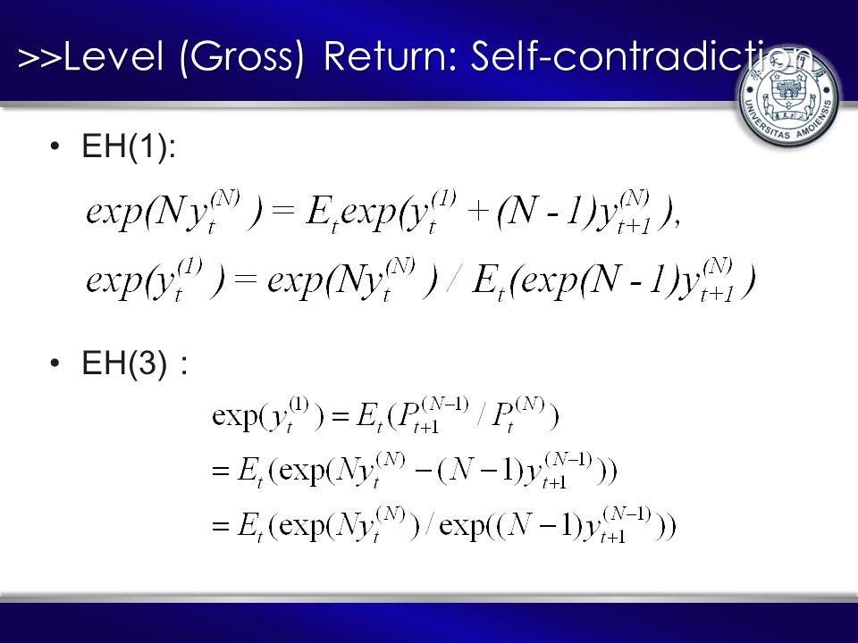 >> Level (Gross) Return: Self-contradiction EH(1): EH(3):