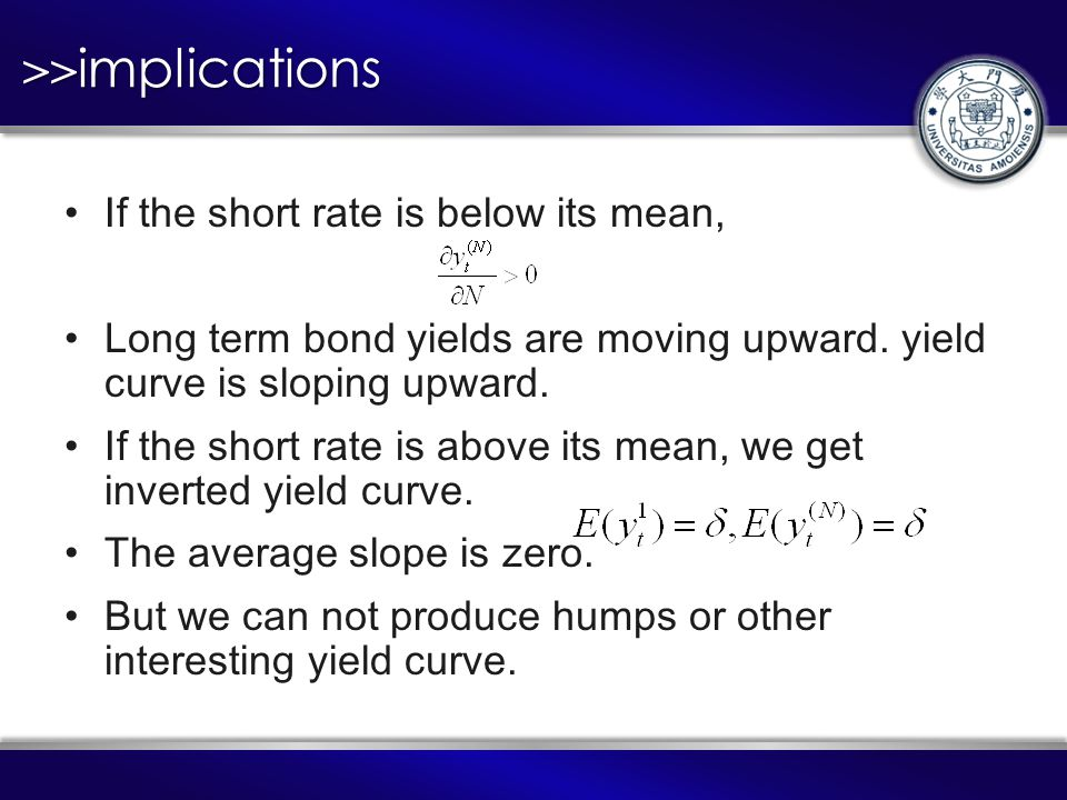 >>implications If the short rate is below its mean, Long term bond yields are moving upward.
