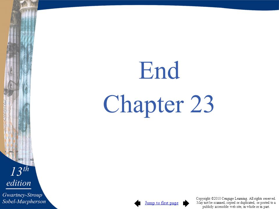 Jump to first page Copyright ©2010 Cengage Learning. All rights reserved. May not be scanned, copied or duplicated, or posted to a publicly accessible