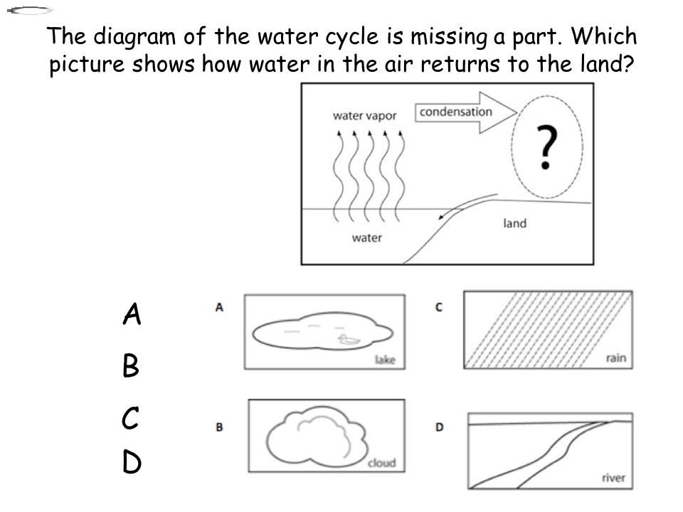 The diagram of the water cycle is missing a part. Which picture shows how water in the air returns to the land? A A B B C C D D