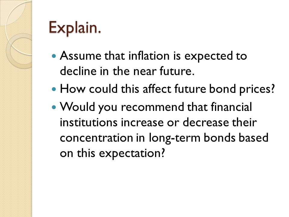 Explain. Assume that inflation is expected to decline in the near future. How could this affect future bond prices? Would you recommend that financial
