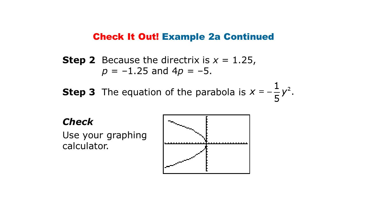 Step 2 Because the directrix is x = 1.25, p = –1.25 and 4p = –5.