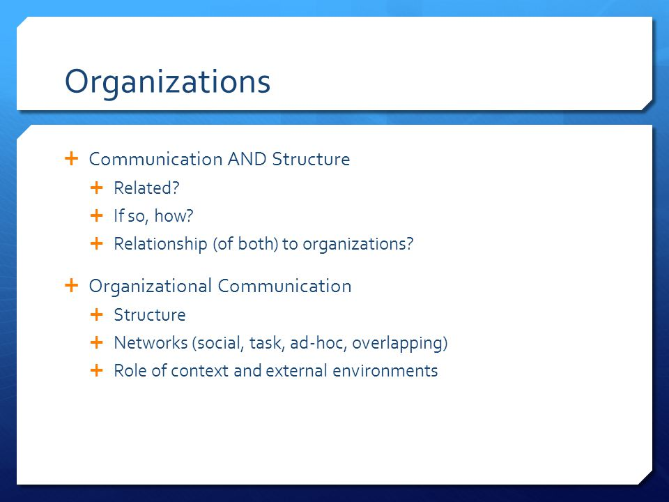 Organizations  Communication AND Structure  Related.