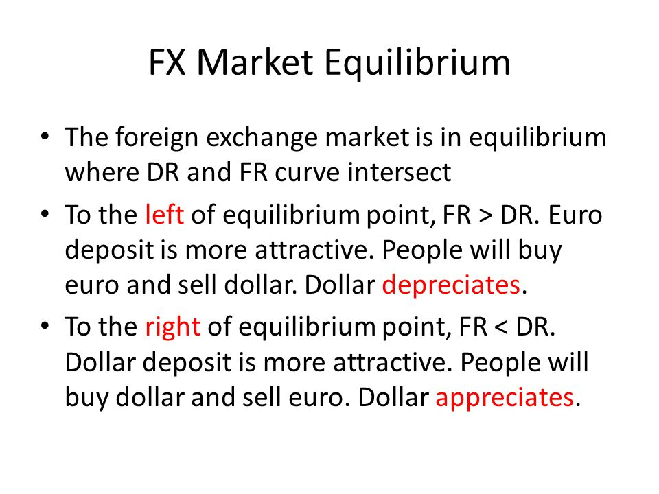FX Market Equilibrium The foreign exchange market is in equilibrium where DR and FR curve intersect To the left of equilibrium point, FR > DR. Euro de