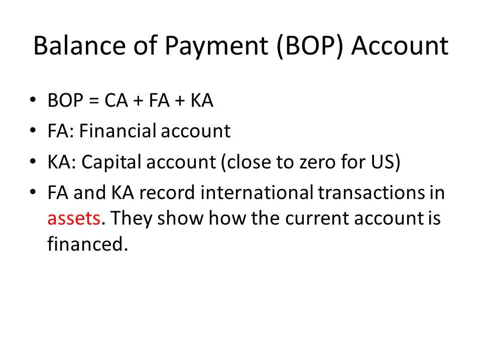 Balance of Payment (BOP) Account BOP = CA + FA + KA FA: Financial account KA: Capital account (close to zero for US) FA and KA record international tr