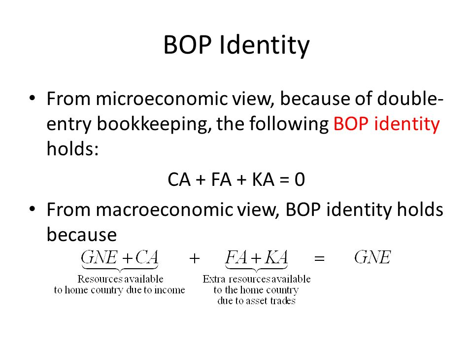 BOP Identity From microeconomic view, because of double- entry bookkeeping, the following BOP identity holds: CA + FA + KA = 0 From macroeconomic view