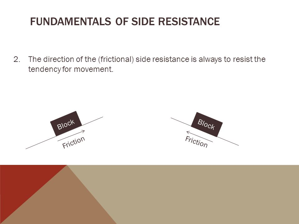 FUNDAMENTALS OF SIDE RESISTANCE 2.The direction of the (frictional) side resistance is always to resist the tendency for movement.