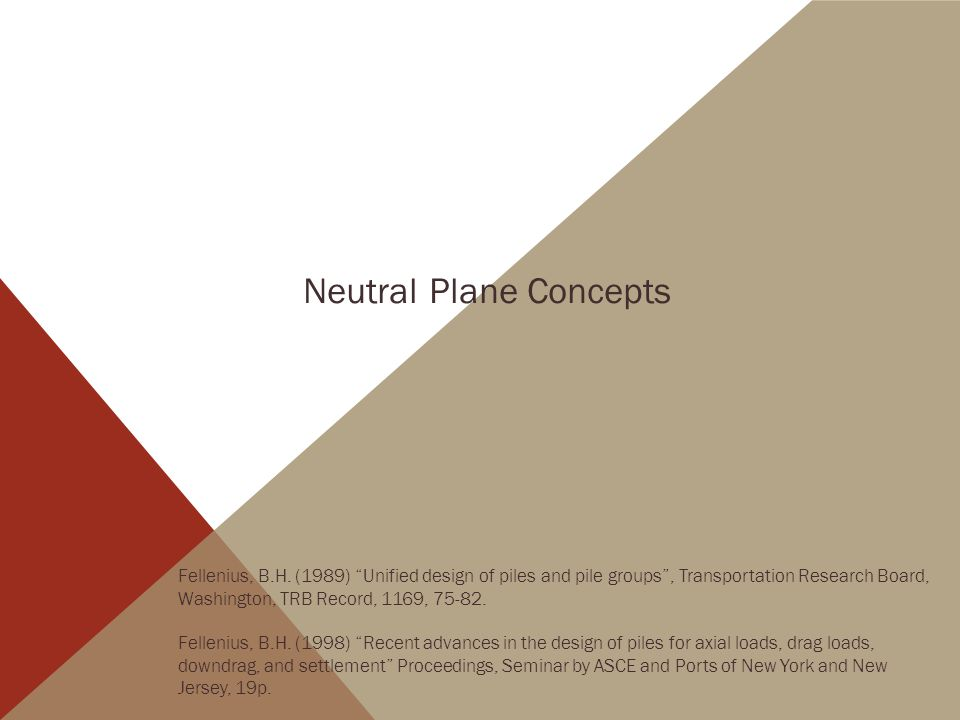 Neutral Plane Concepts Fellenius, B.H.