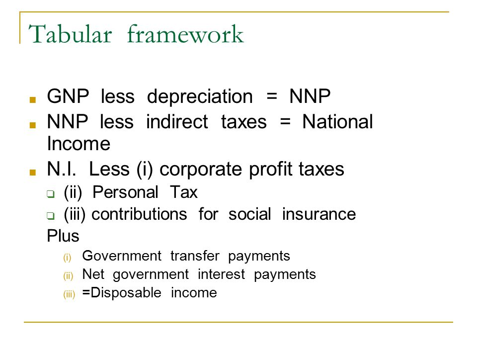 Tabular framework ■ GNP less depreciation = NNP ■ NNP less indirect taxes = National Income ■ N.I.