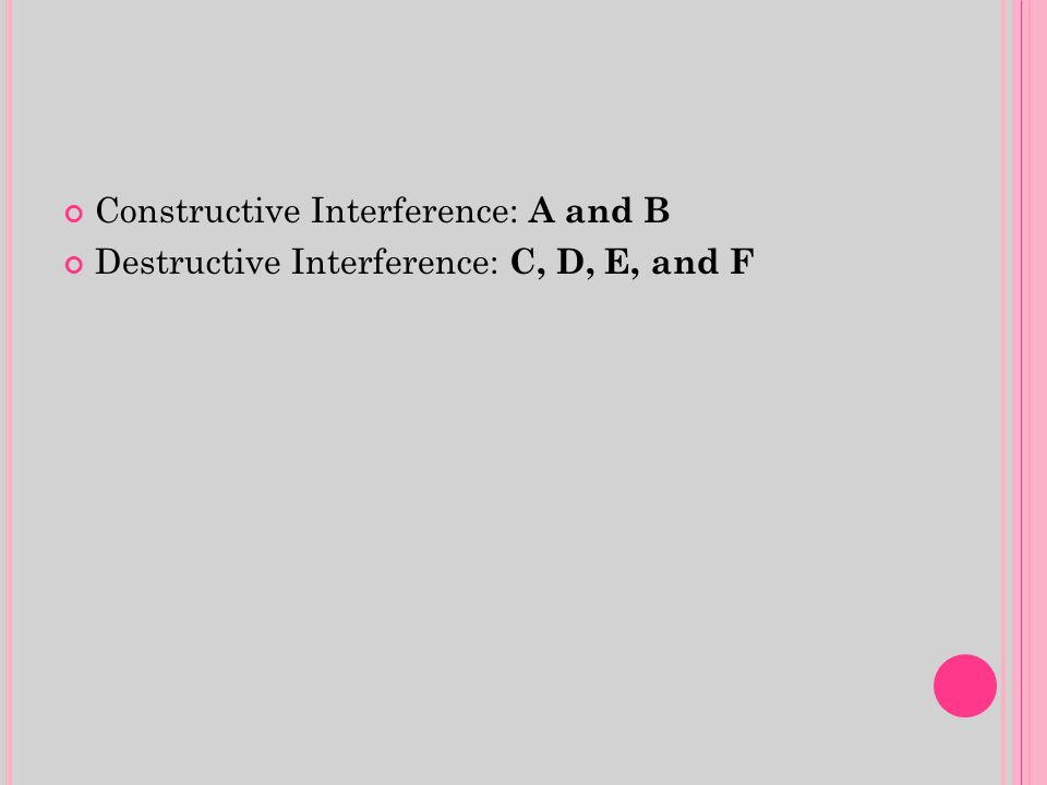Constructive Interference: A and B Destructive Interference: C, D, E, and F